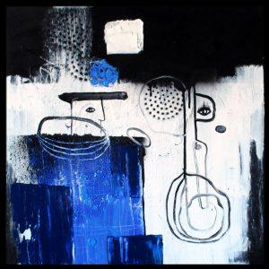 """""""Mand og regn"""", """"man and rain"""" Cold summer 2015, acrylic on canvas 50x50. Helen Kholin"""
