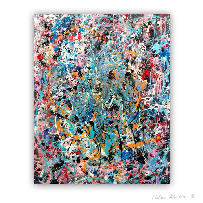 8 People stars nr 8 24x30 cm stjerner kunst malerier til salg painting for sale abstrakte helen kholin