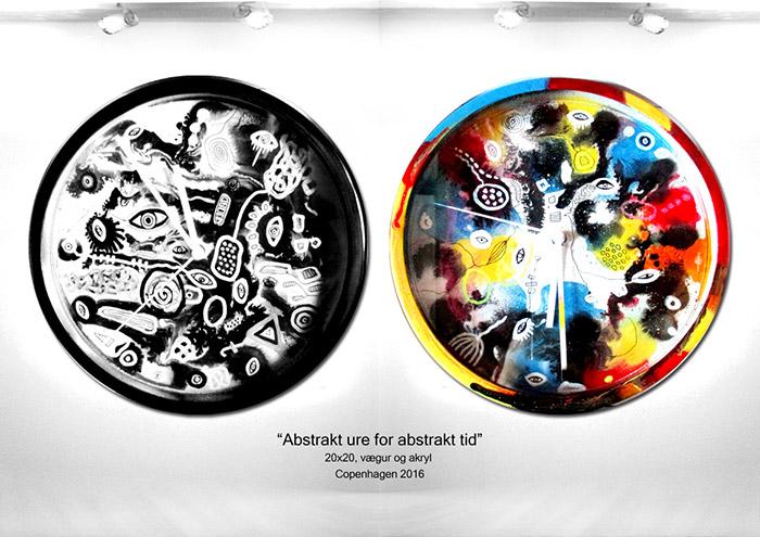 Abstrakt ure for abstrakt tid helenkholin hvid og sort farverig