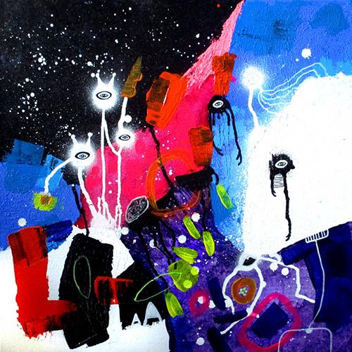 helen kholin Kosmiske venner og dybhavs albino muldvarp fayritales of universe helenkholin maleri abstrakt