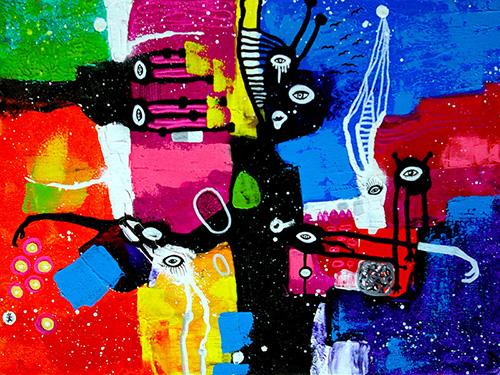 helen kholin People flying in the sky helenkholin maleri painting Mennesker, der flyver i himlen