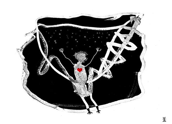 at gynge postkort 2017 helen kholin illustrationer illustrations create together kosmiske kunst art kunst