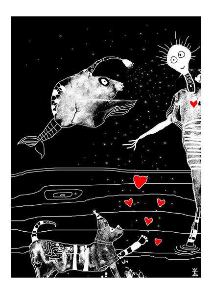 kosmiske venner postkort 2017 helen kholin illustrationer illustrations create together kosmiske kunst art kunst