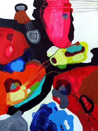 man and mask mand og mask helenkholin abstrakt maleri