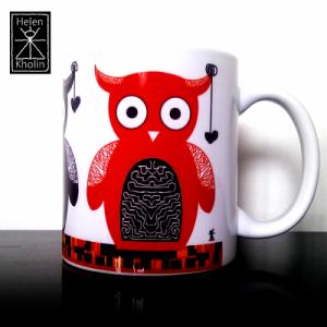 owl art mug kunstkrus helenkholin