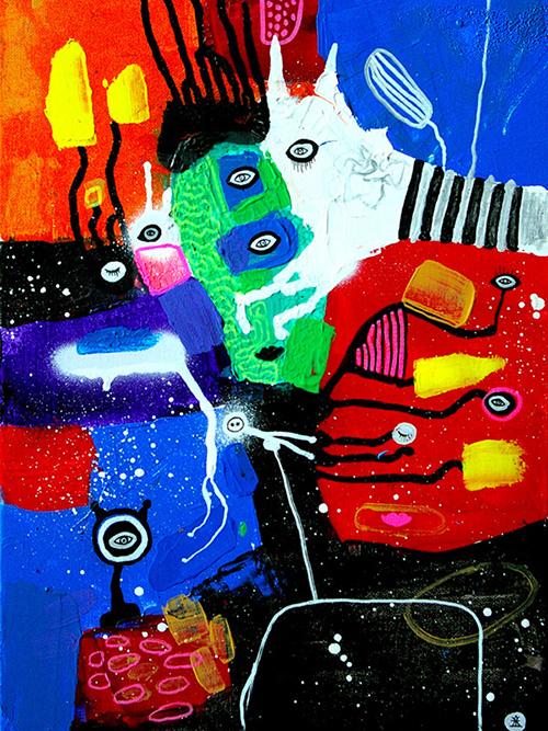 helen kholin people and magical zebra helenkholin maleri painting Mennesker og magisk zebra