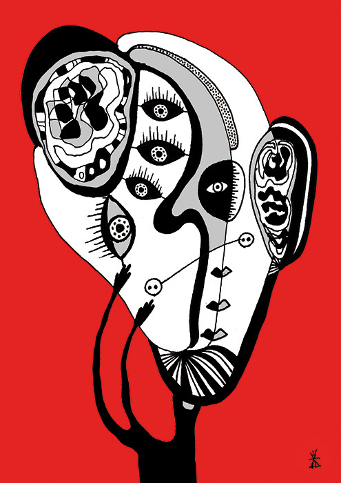 people and red helen kholin prints grafik kunst 2
