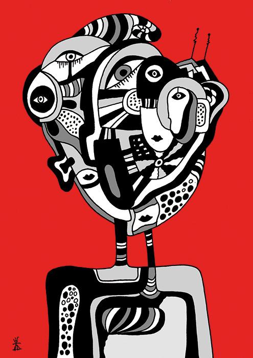 people and red helen kholin prints grafik kunst 5