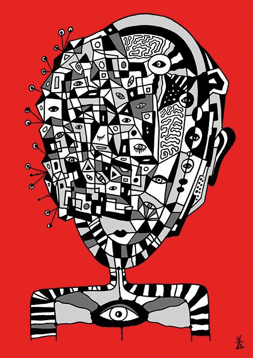 people and red helen kholin prints grafik kunst man 4
