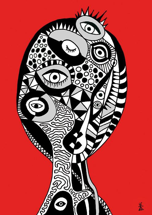 people and red helen kholin prints grafik kunst