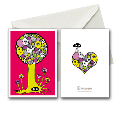 pink tree postkort helenkholin postkort helen kholin