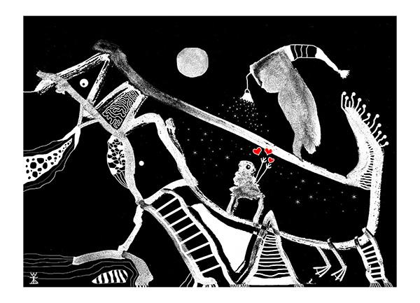 postkort 2017 helen kholin illustrationer illustrations create together kosmiske kunst art kunst stjerneregn