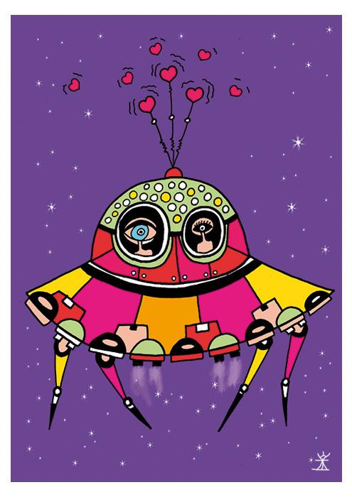 together in space love space valentinsdag Valentine's Day helen kholin postkort postcards helenkholin