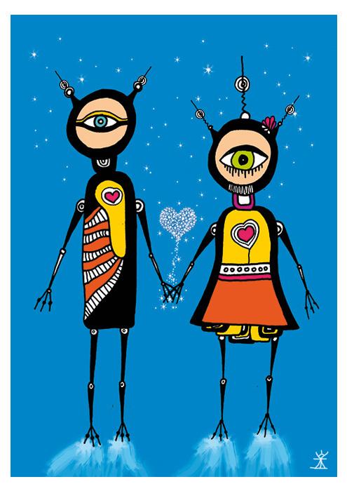 together love and stars valentinsdag Valentine's Day helen kholin postkort postcards helenkholin