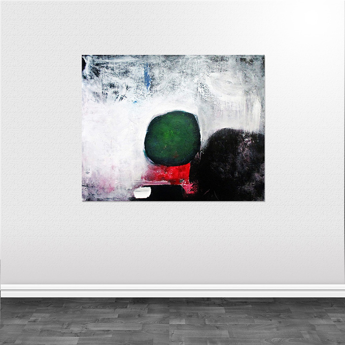 abstrakte malerier Man and red pillow helen kholin mand og pude