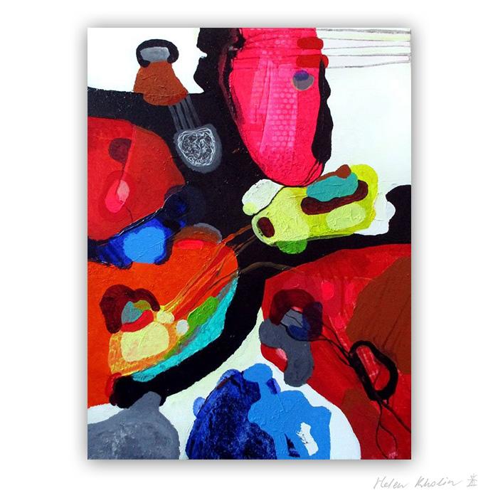 3 Man and Mask 80×60 acrylic on canvas Cph 2016 Fairytales of Earth helen kholin abstrakte malerier til salg painting