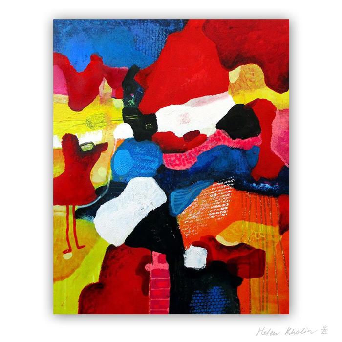 5 Waiting for miraculous rain 100×80 acrylic on canvas Cph 2016 Fairytales of Earth helen kholin abstrakte malerier til salg painting