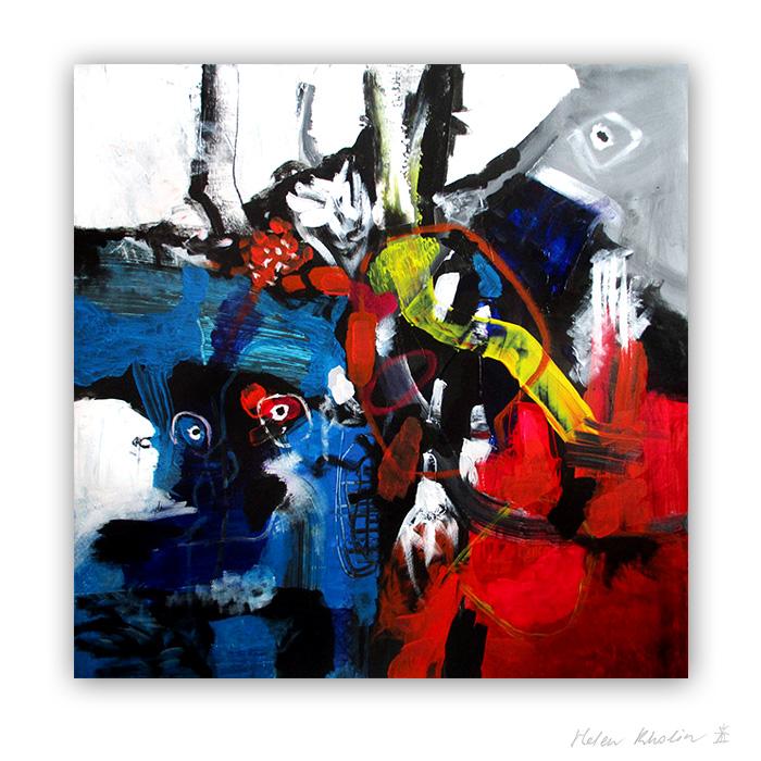 8 Fireman and Waterman 80×80 acrylic on canvas Cph 2016 Fairytales of Earth helen kholin abstrakte malerier til salg painting