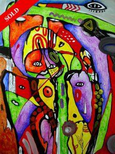 People in the forest sold art helen kholin monaco solgt kunst