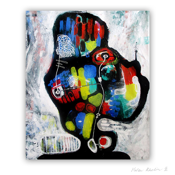 2 UFO 2 kosmiske kunst 60×50 cm helen kholin abstrakte malerier til salg painting