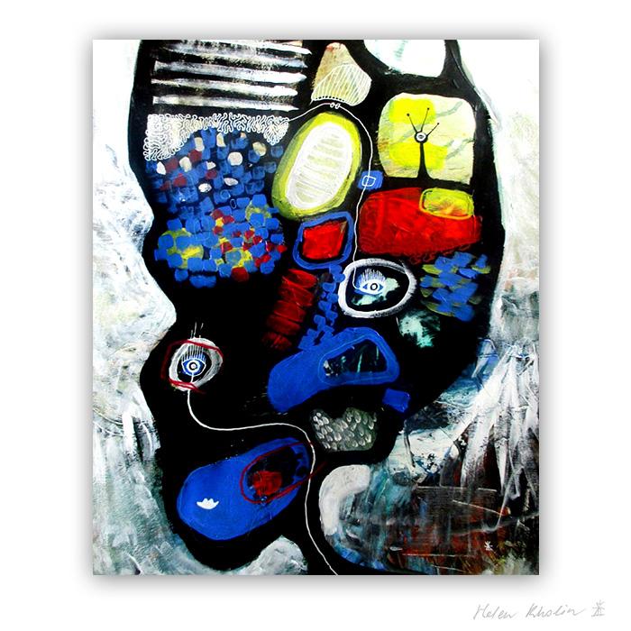 3 UFO 3 kosmiske kunst 60×50 cm helen kholin abstrakte malerier til salg painting