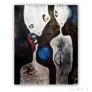 7 UFO 7 Aliens and Neutron Star 100×80 cm rumvaesen kosmisk kunst space art helen kholin abstrakte malerier til salg painting