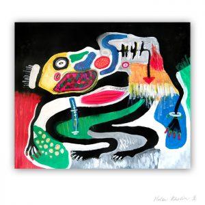 8 UFO 8 feelings in utopia 120×100 cm rumvaesen kosmisk kunst space art helen kholin abstrakte malerier til salg painting