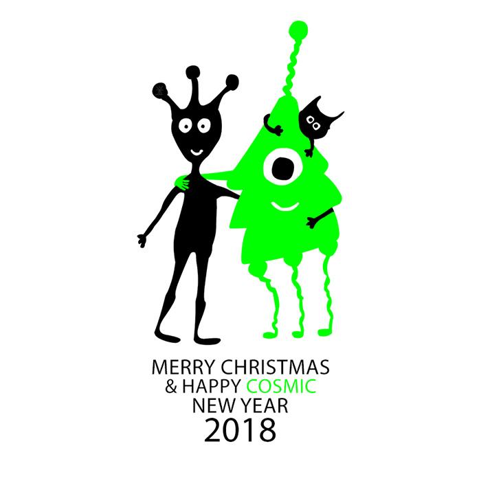 cosmic new year 2018 merry christmas god jul godt nytaar helen kholin postkort