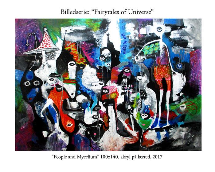 People and mycelium helen kholin store abstrakte malerier Billedserie Fairytales of Universe