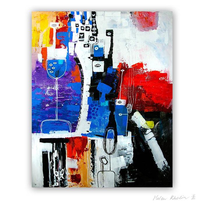 12 People Sea Thoughts – Mennesker Hav Tanker 100x80 cm abstrakte malerier helen kholin 2016 painting