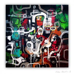 14 Cyberspace People Dark matter 80x80 cm abstrakte malerier helen kholin 2016 painting