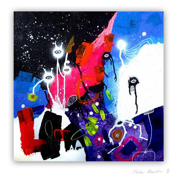 15 Space friends and deep-sea albino mole 50x50 cm abstrakte malerier helen kholin 2016 painting