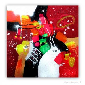 16 Space friends and Magical Rabbit kanin 50x50 cm abstrakte malerier helen kholin 2016 painting