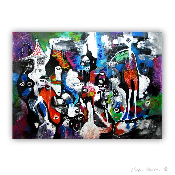 18 People and Mycelium 140x100 cm abstrakte malerier helen kholin 2017 painting