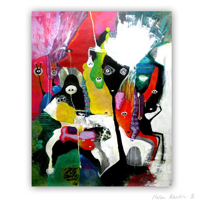 19 Memories about Pink Fish 100x80 cm abstrakte malerier helen kholin 2017 painting
