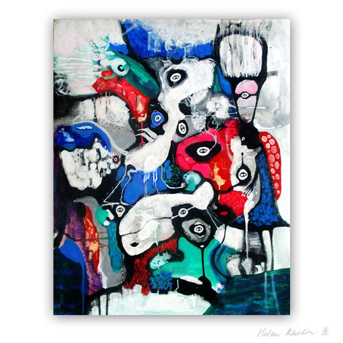 21 People and Dragon 100×80 cm abstrakte malerier helen kholin 2018 painting