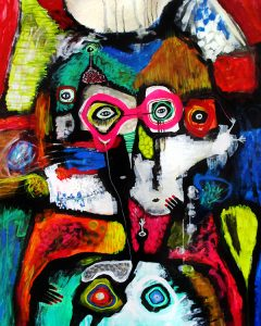 22 pink glasses for two 100x80 abstrakt maleri til salg helen kholin