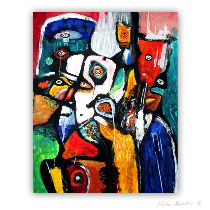 23 Knights Move 100×80 cm abstrakte malerier helen kholin 2018 painting