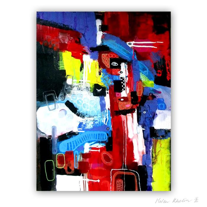 6 People Artists - Mennesker Kunstnere 80x60 cm abstrakte malerier helen kholin 2016 painting
