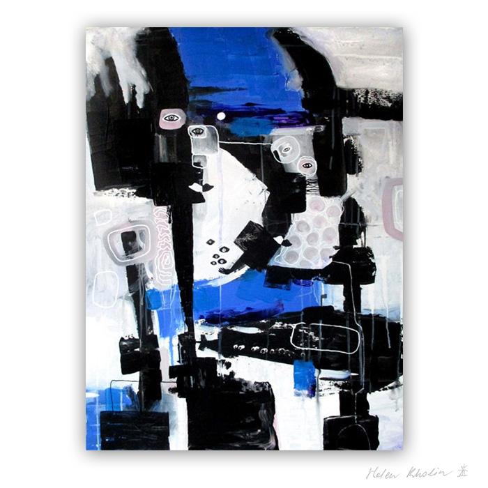 7 People and Submarine - Mennesker og ubaad 80x60 cm abstrakte malerier helen kholin 2016 painting