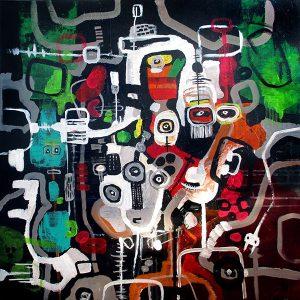 Cyberspace People Dark matter 80x80 cm abstrakte malerier helen kholin 2016