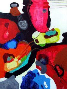 man and mask 80x60 abstrakte malerier helen kholin