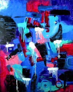 People Sea Station - Mennesker Hav Station 100x80 cm abstrakte malerier helen kholin 2016