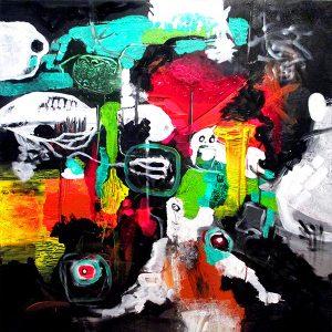 Man and Magic world 80x80 abstrakte malerier helen kholin