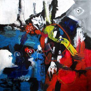 Fireman and Waterman Brandmand og Vandmand 80x80 abstrakte malerier helen kholin