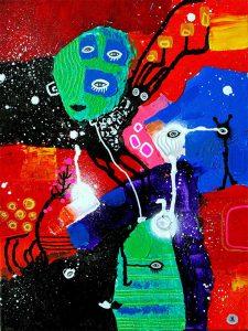 People and Magic Deer - Mennesker og Magisk Hjort 40x30 cm abstrakte malerier helen kholin 2016