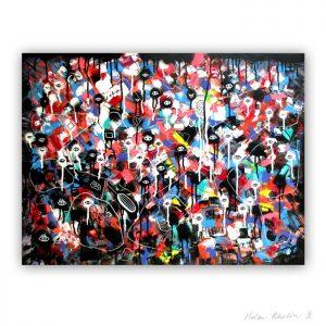 4 Colorful world 1 Planet of eyes 4 oerjne 80x60 cm acrylic on canvas abstrakte malerier til salg helen kholin