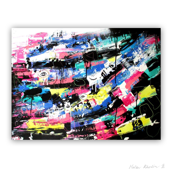 5 Colorful world 2 Planet of eyes 5 80x60 cm acrylic on canvas abstrakte malerier til salg helen kholin
