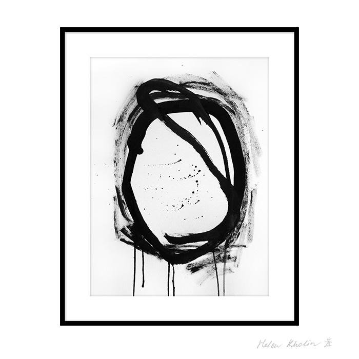2 space 2 helen kholin graphic hvid og sort ink paa papir 30x40 ramme