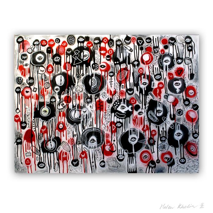 2 Crazy world 2 Planet of eyes 2 oerjne 80x60 cm acrylic on canvas abstrakte malerier til salg helen kholin